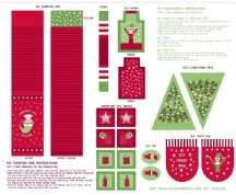 Lewis & Irene - Christmas Glow - 6711 -  Elf Accessories Panel, Red & Green - C50.3 - Cotton Fabric